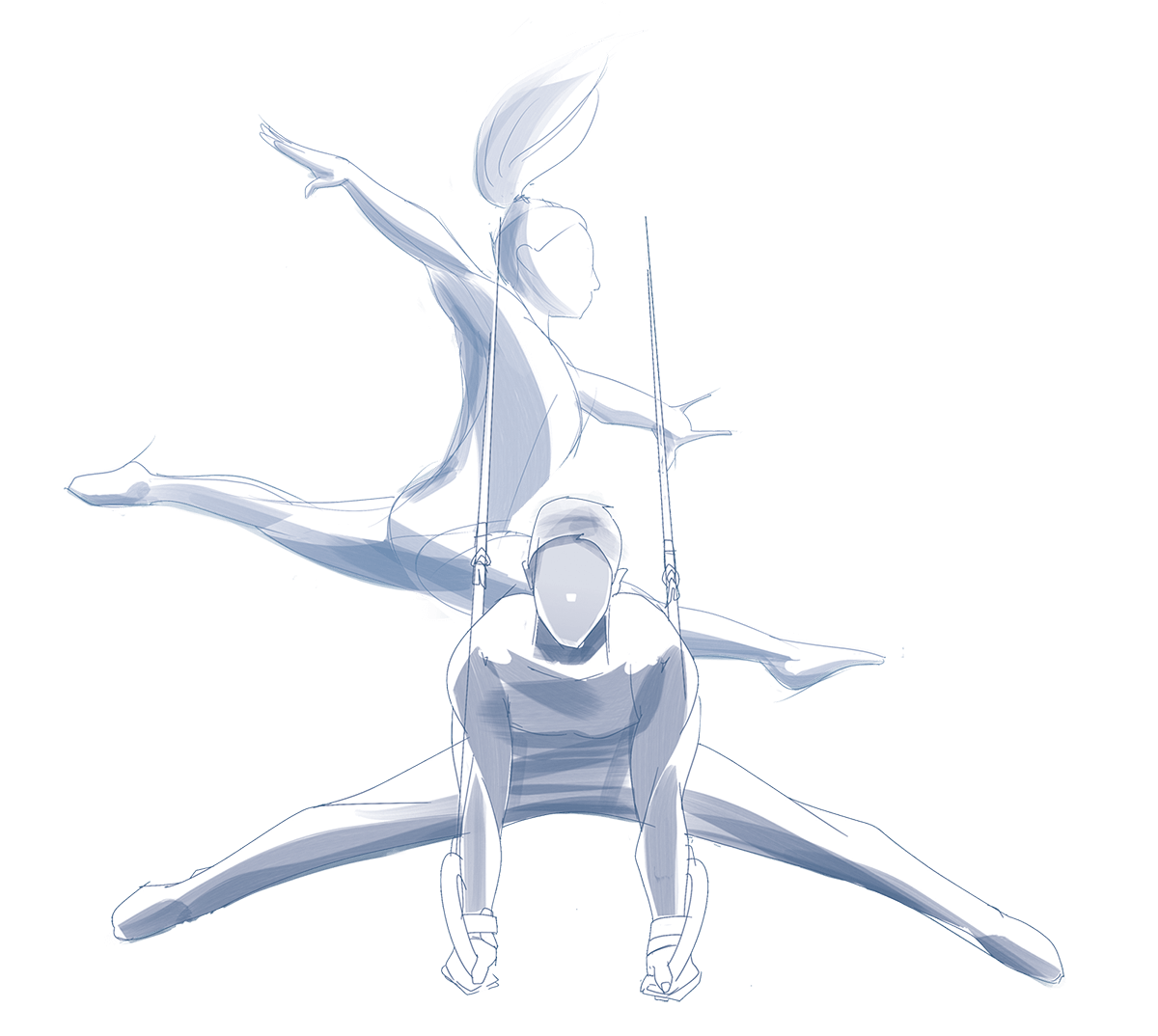 Male and female gymnasts illustration